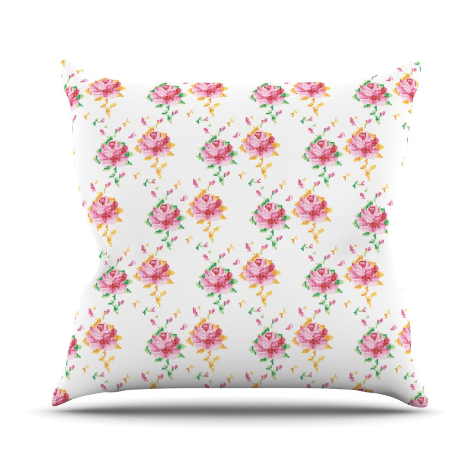 "Laura Escalante ""Cross Stitch Flowers"" White Pink Throw Pillow - KESS InHouse  - 1"