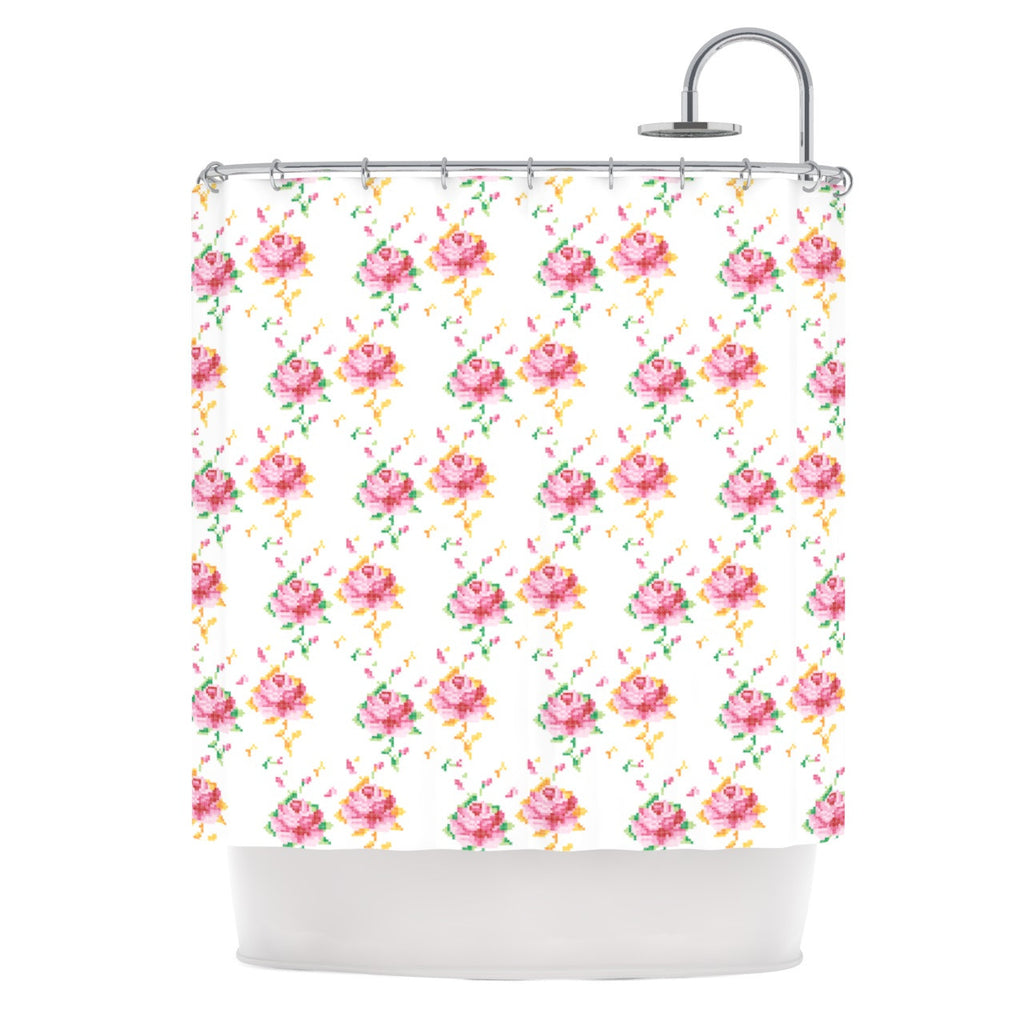 "Laura Escalante ""Cross Stitch Flowers"" White Pink Shower Curtain - KESS InHouse"