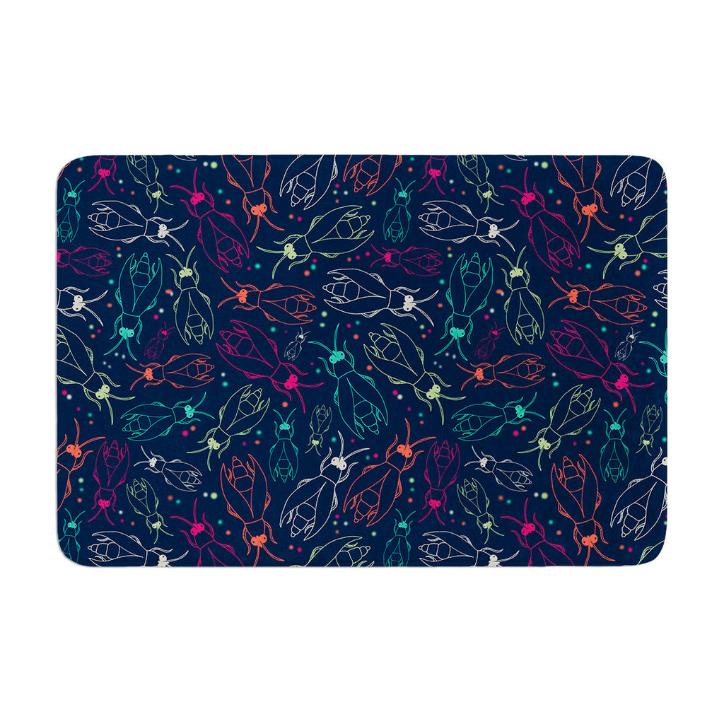 "Laura Escalante ""Fireflies Midnight Garden"" Dark Blue Memory Foam Bath Mat - KESS InHouse"