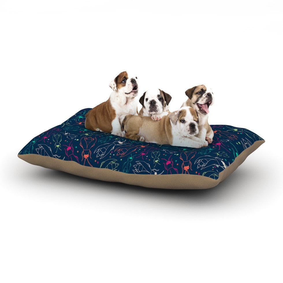 "Laura Escalante ""Fireflies Midnight Garden"" Dark Blue Dog Bed - KESS InHouse  - 1"