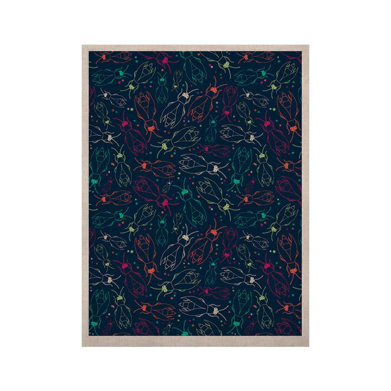"Laura Escalante ""Fireflies Midnight Garden"" Dark Blue KESS Naturals Canvas (Frame not Included) - KESS InHouse  - 1"
