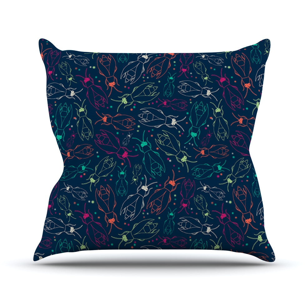 "Laura Escalante ""Fireflies Midnight Garden"" Dark Blue Throw Pillow - KESS InHouse  - 1"