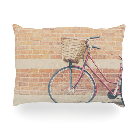 "Laura Evans ""A Red Bicycle"" Orange Brown Oblong Pillow - KESS InHouse"