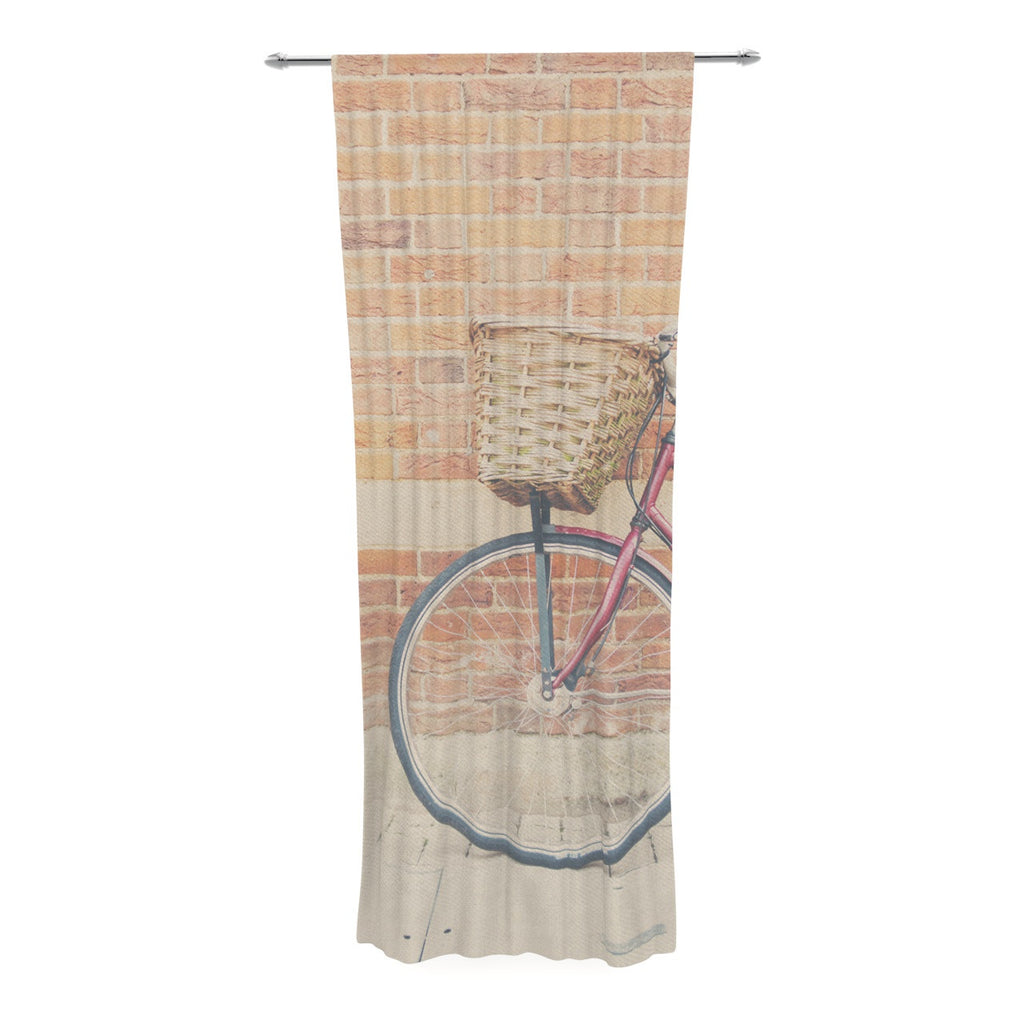"Laura Evans ""A Red Bicycle"" Orange Brown Decorative Sheer Curtain - KESS InHouse"