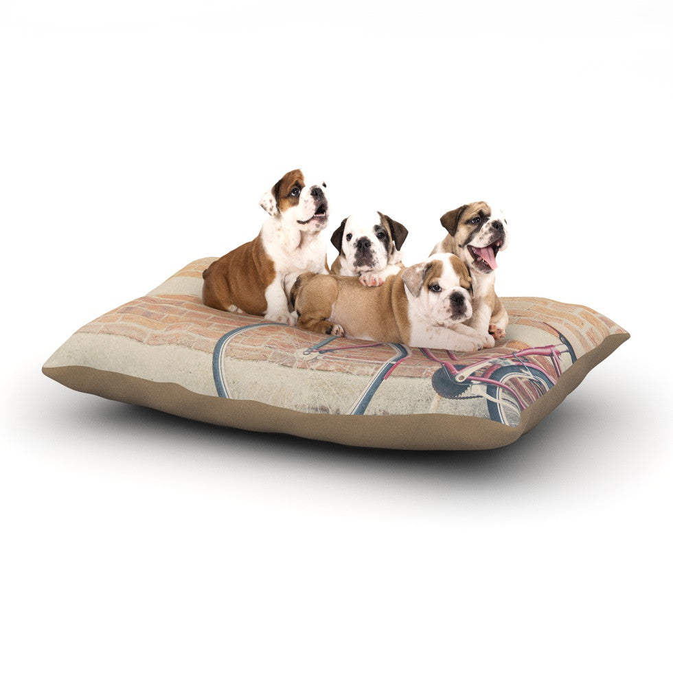 "Laura Evans ""A Red Bicycle"" Orange Brown Dog Bed - KESS InHouse  - 1"