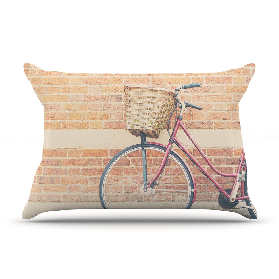 "Laura Evans ""A Red Bicycle"" Orange Brown Pillow Sham - KESS InHouse"
