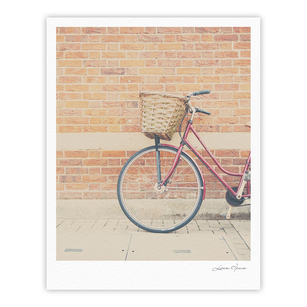 "Laura Evans ""A Red Bicycle"" Orange Brown Fine Art Gallery Print - KESS InHouse"