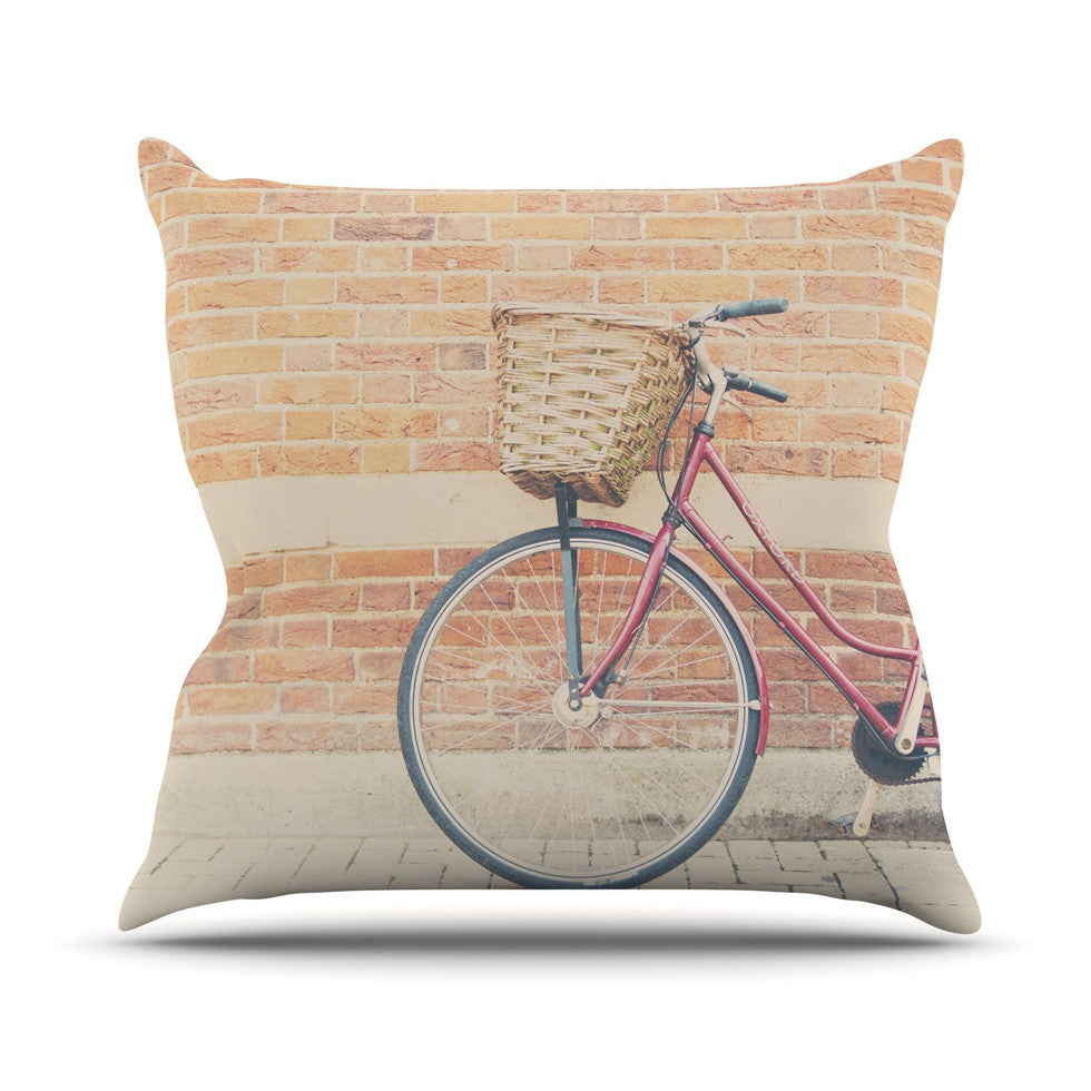 "Laura Evans ""A Red Bicycle"" Orange Brown Outdoor Throw Pillow - KESS InHouse  - 1"