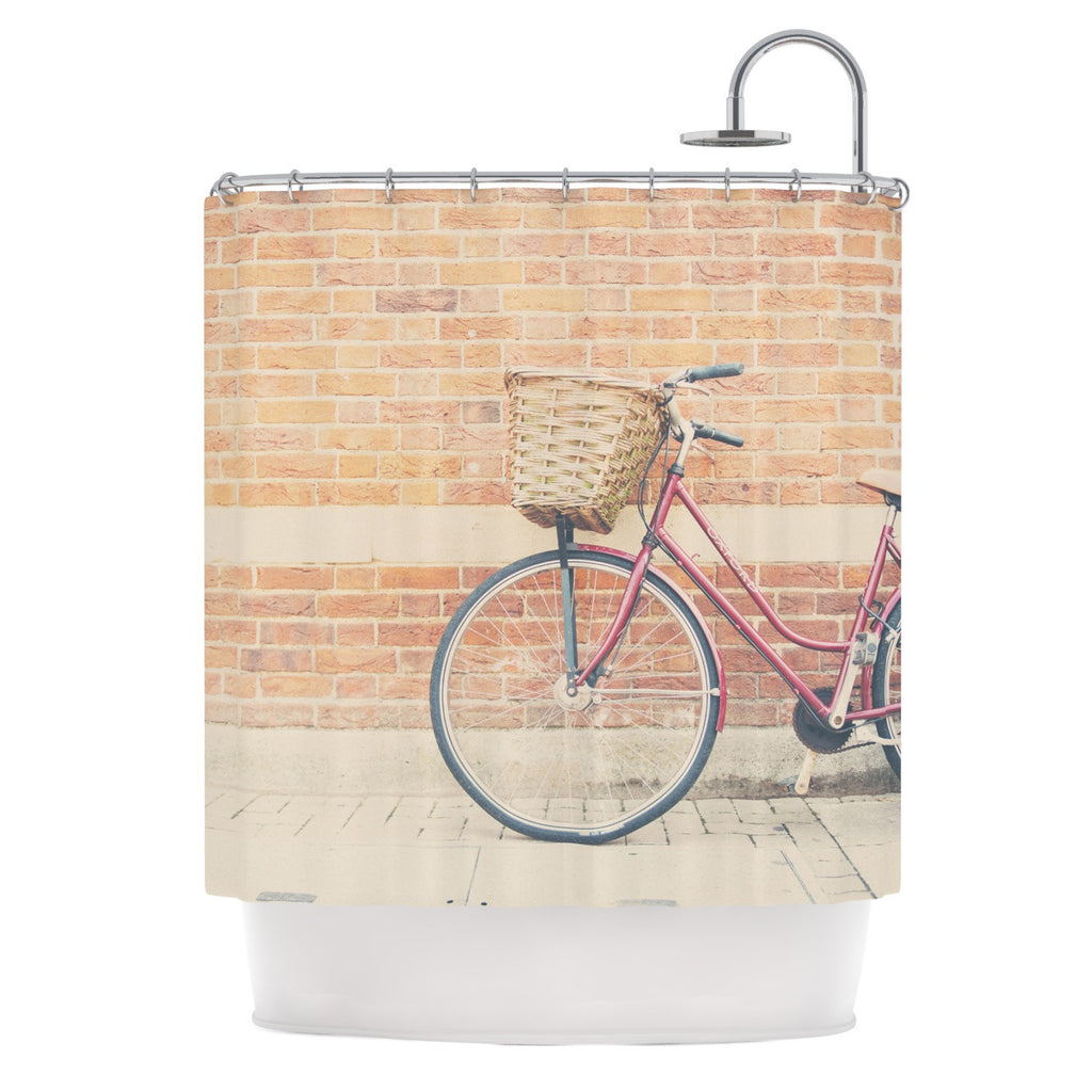 "Laura Evans ""A Red Bicycle"" Orange Brown Shower Curtain - KESS InHouse"