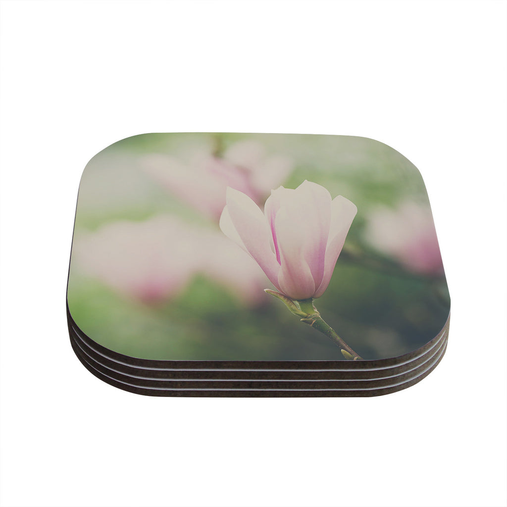 "Laura Evans ""A Pink Magnolia"" Pink Green Coasters (Set of 4)"