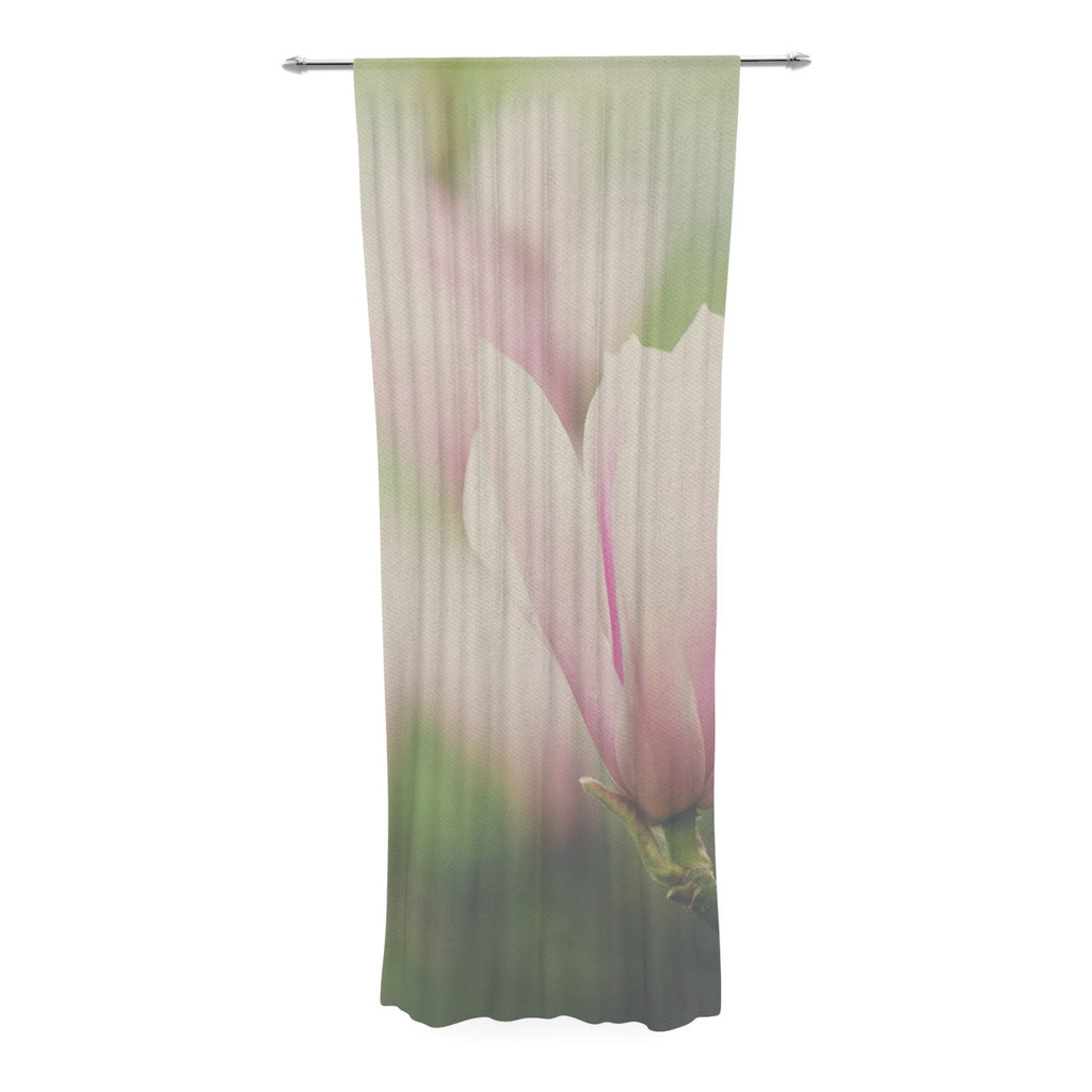 "Laura Evans ""A Pink Magnolia"" Pink Green Decorative Sheer Curtain - KESS InHouse  - 1"