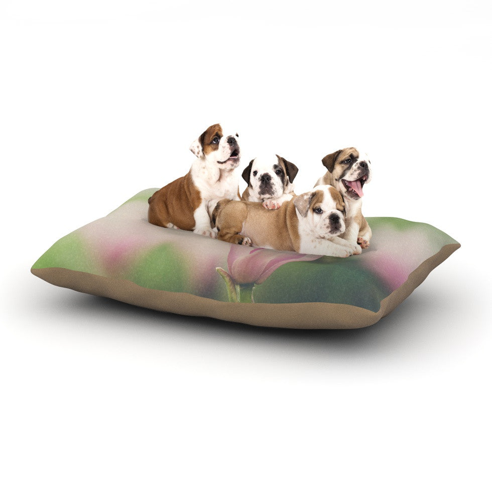"Laura Evans ""A Pink Magnolia"" Pink Green Dog Bed - KESS InHouse  - 1"