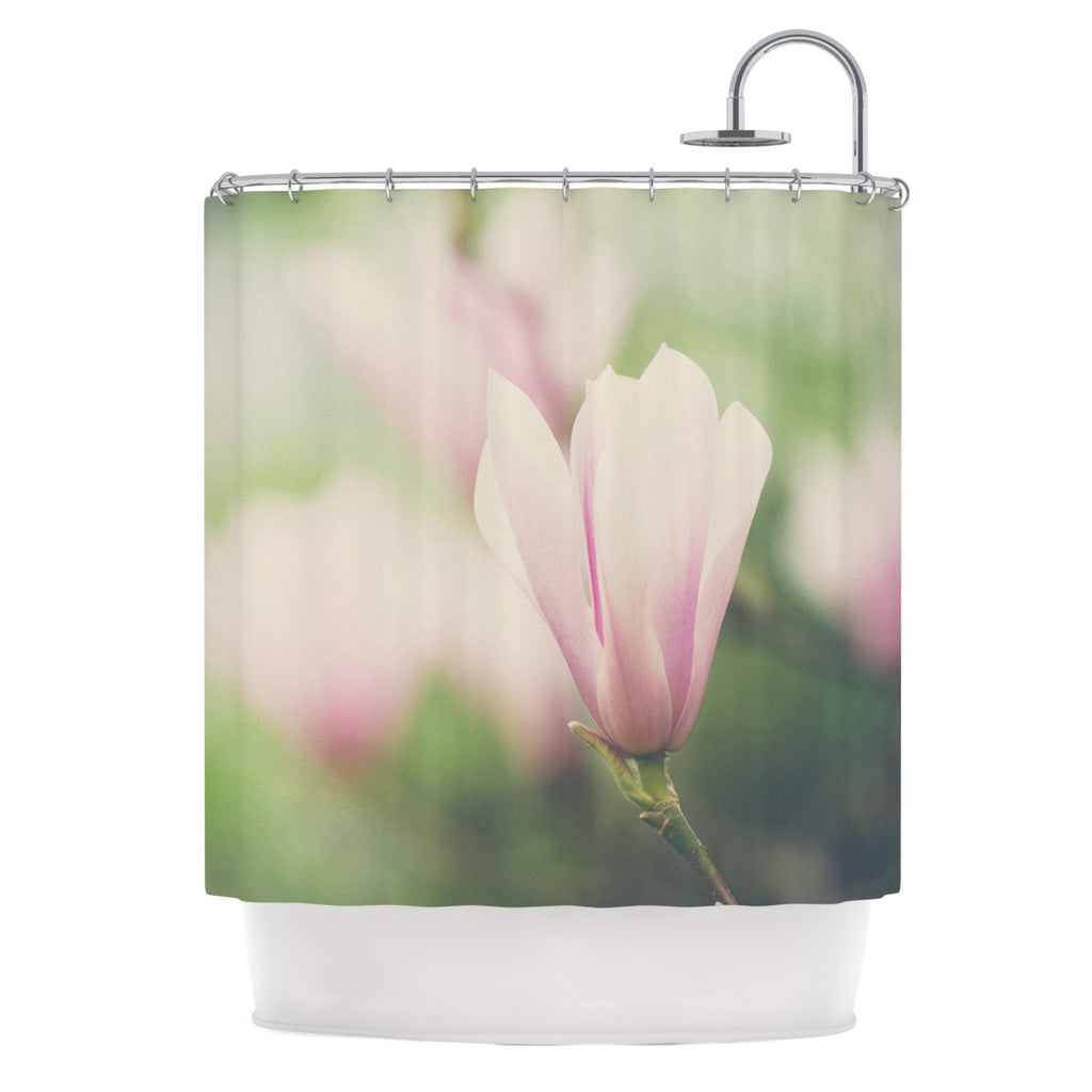 "Laura Evans ""A Pink Magnolia"" Pink Green Shower Curtain - KESS InHouse"