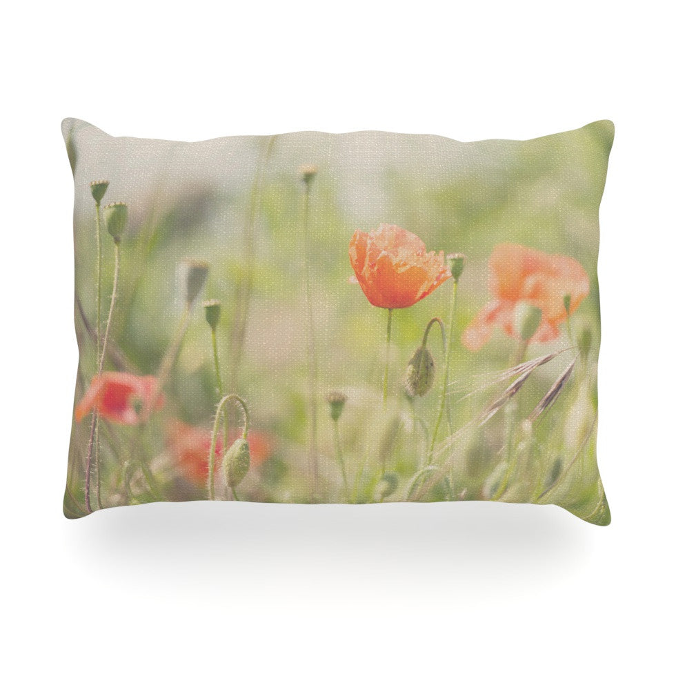 "Laura Evans ""Fields of Remembrance"" Green Orange Oblong Pillow - KESS InHouse"