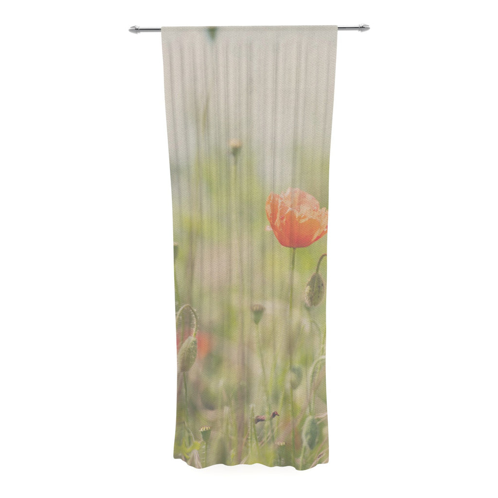 "Laura Evans ""Fields of Remembrance"" Green Orange Decorative Sheer Curtain - KESS InHouse  - 1"