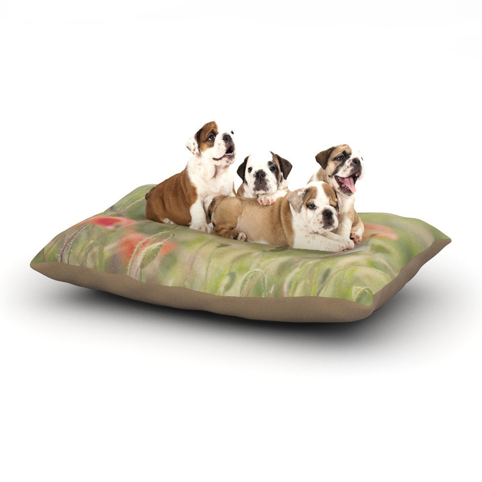 "Laura Evans ""Fields of Remembrance"" Green Orange Dog Bed - KESS InHouse  - 1"