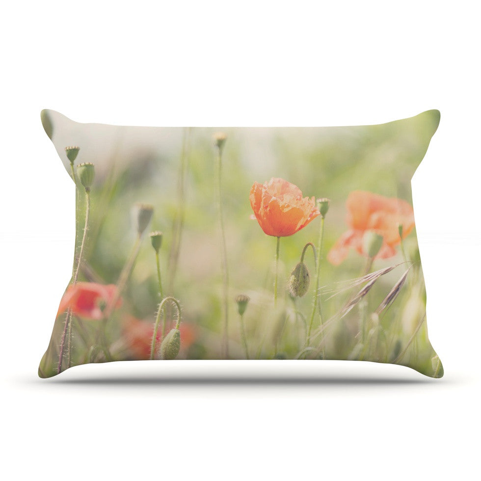 "Laura Evans ""Fields of Remembrance"" Green Orange Pillow Sham - KESS InHouse"