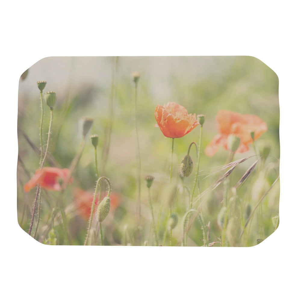 "Laura Evans ""Fields of Remembrance"" Green Orange Place Mat - KESS InHouse"