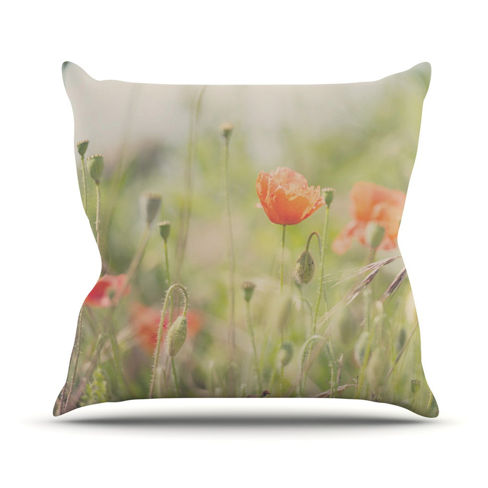 "Laura Evans ""Fields of Remembrance"" Green Orange Outdoor Throw Pillow - KESS InHouse  - 1"