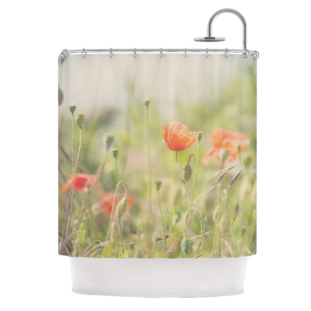 "Laura Evans ""Fields of Remembrance"" Green Orange Shower Curtain - KESS InHouse"
