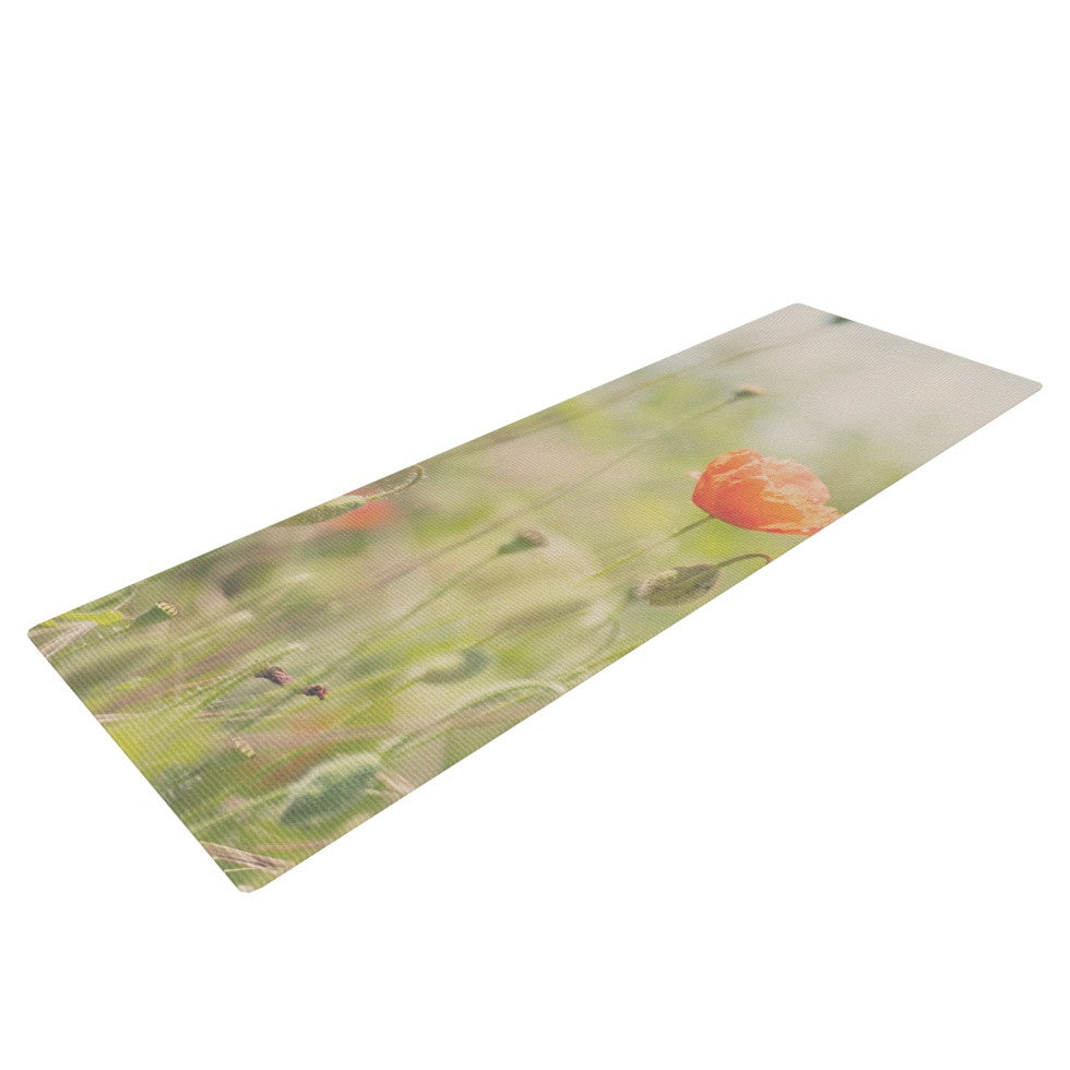 "Laura Evans ""Fields of Remembrance"" Green Orange Yoga Mat - KESS InHouse  - 1"