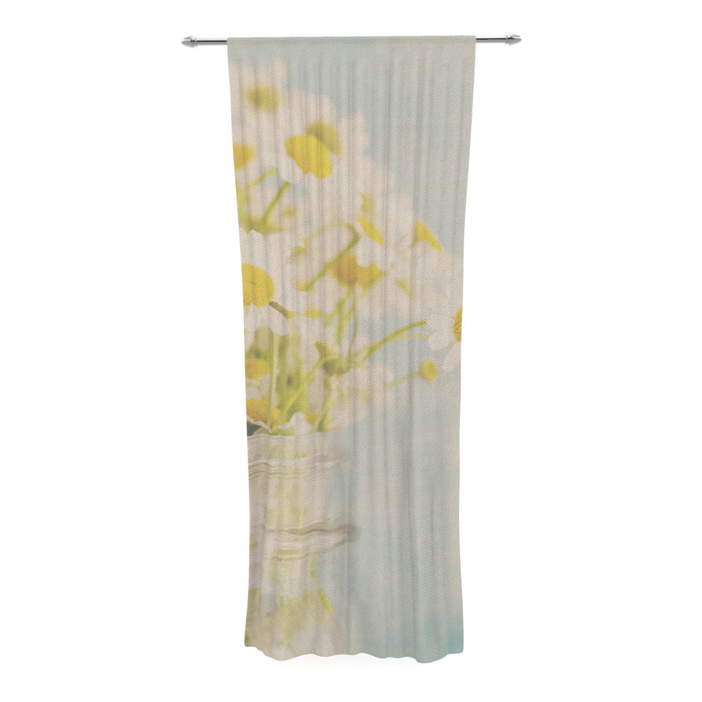"Laura Evans ""O Daisy"" Green Yellow Decorative Sheer Curtain - KESS InHouse  - 1"