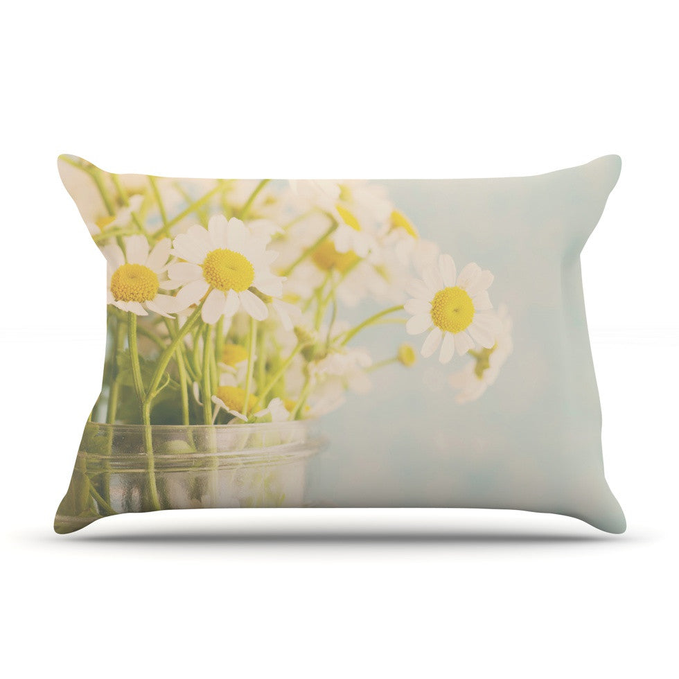"Laura Evans ""O Daisy"" Green Yellow Pillow Sham - KESS InHouse"