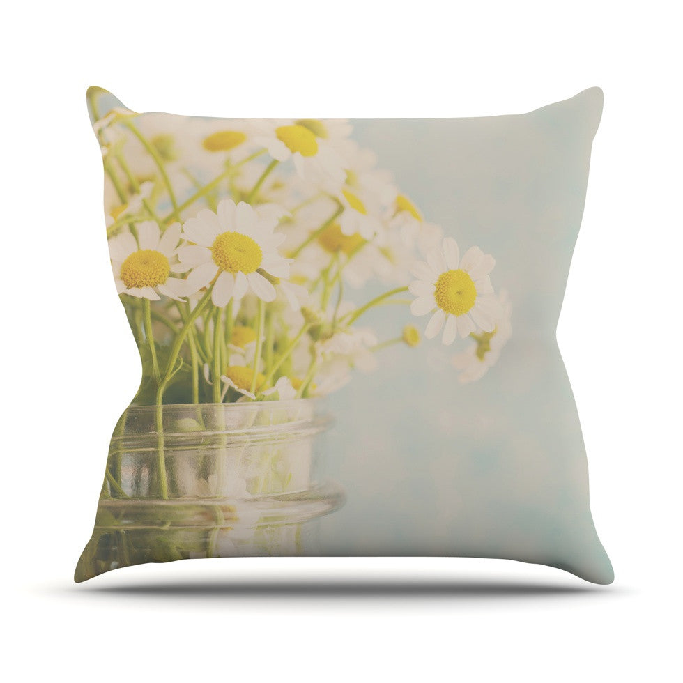 "Laura Evans ""O Daisy"" Green Yellow Outdoor Throw Pillow - KESS InHouse  - 1"