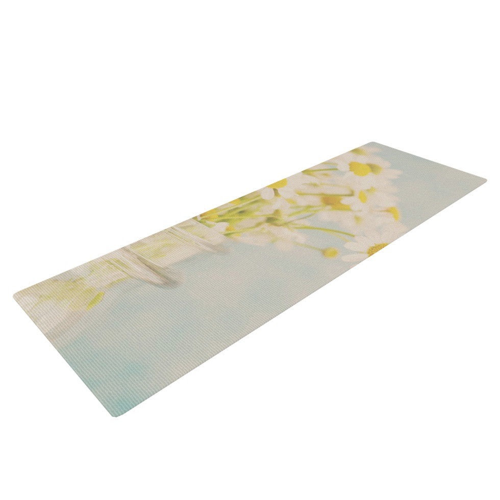 "Laura Evans ""O Daisy"" Green Yellow Yoga Mat - KESS InHouse  - 1"