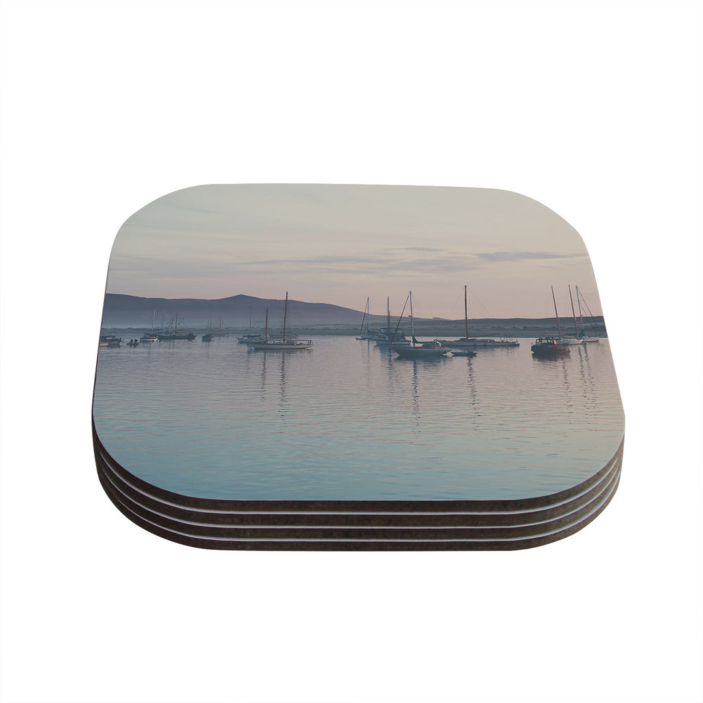 "Laura Evans ""As the Sun Goes Down"" Gray Pastel Coasters (Set of 4)"