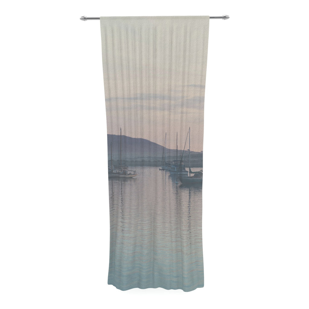 "Laura Evans ""As the Sun Goes Down"" Gray Pastel Decorative Sheer Curtain - KESS InHouse  - 1"