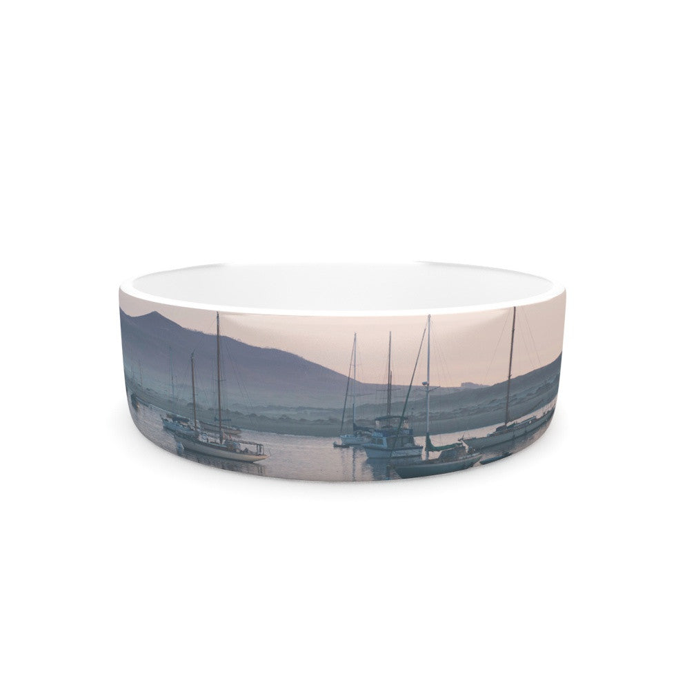 "Laura Evans ""As the Sun Goes Down"" Gray Pastel Pet Bowl - KESS InHouse"