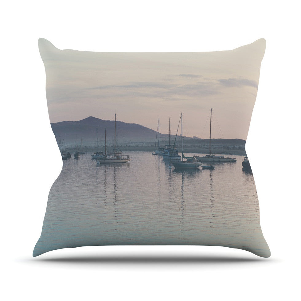 "Laura Evans ""As the Sun Goes Down"" Gray Pastel Outdoor Throw Pillow - KESS InHouse  - 1"