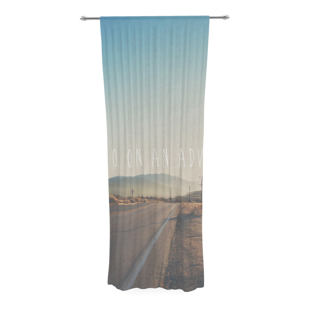 "Laura Evans ""Let's Go On An Adventure"" Brown Blue Decorative Sheer Curtain - KESS InHouse  - 1"