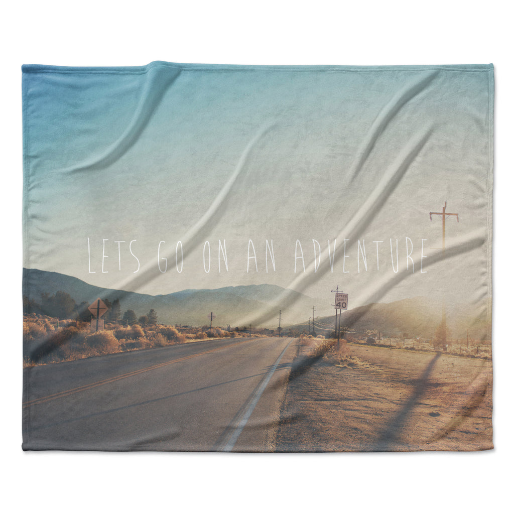 "Laura Evans ""Let's Go On An Adventure"" Brown Blue Fleece Throw Blanket"