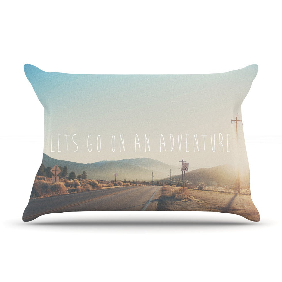 "Laura Evans ""Let's Go On An Adventure"" Brown Blue Pillow Sham - KESS InHouse"