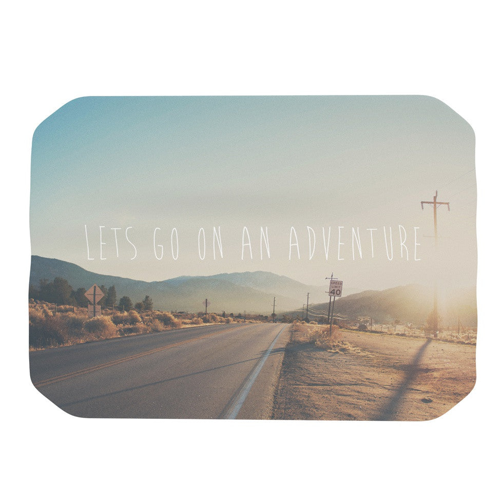 "Laura Evans ""Let's Go On An Adventure"" Brown Blue Place Mat - KESS InHouse"