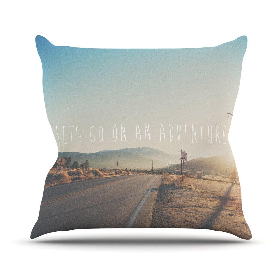 "Laura Evans ""Let's Go On An Adventure"" Brown Blue Outdoor Throw Pillow - KESS InHouse  - 1"