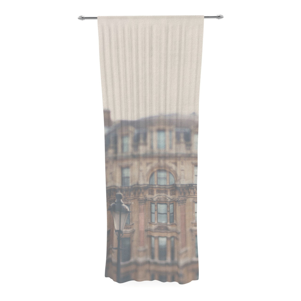 "Laura Evans ""London Town"" Brown Decorative Sheer Curtain - KESS InHouse  - 1"