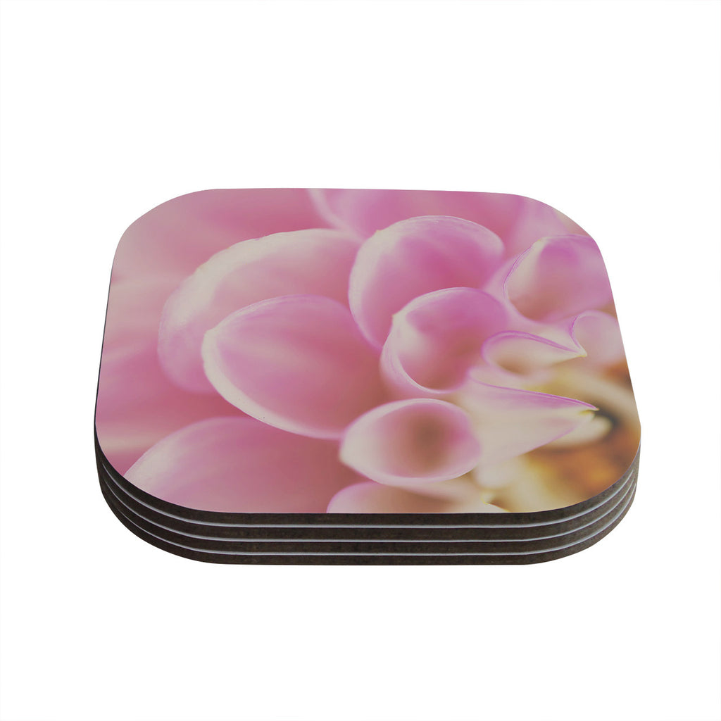 "Laura Evans ""Up Close & Personal"" Pink Floral Coasters (Set of 4)"