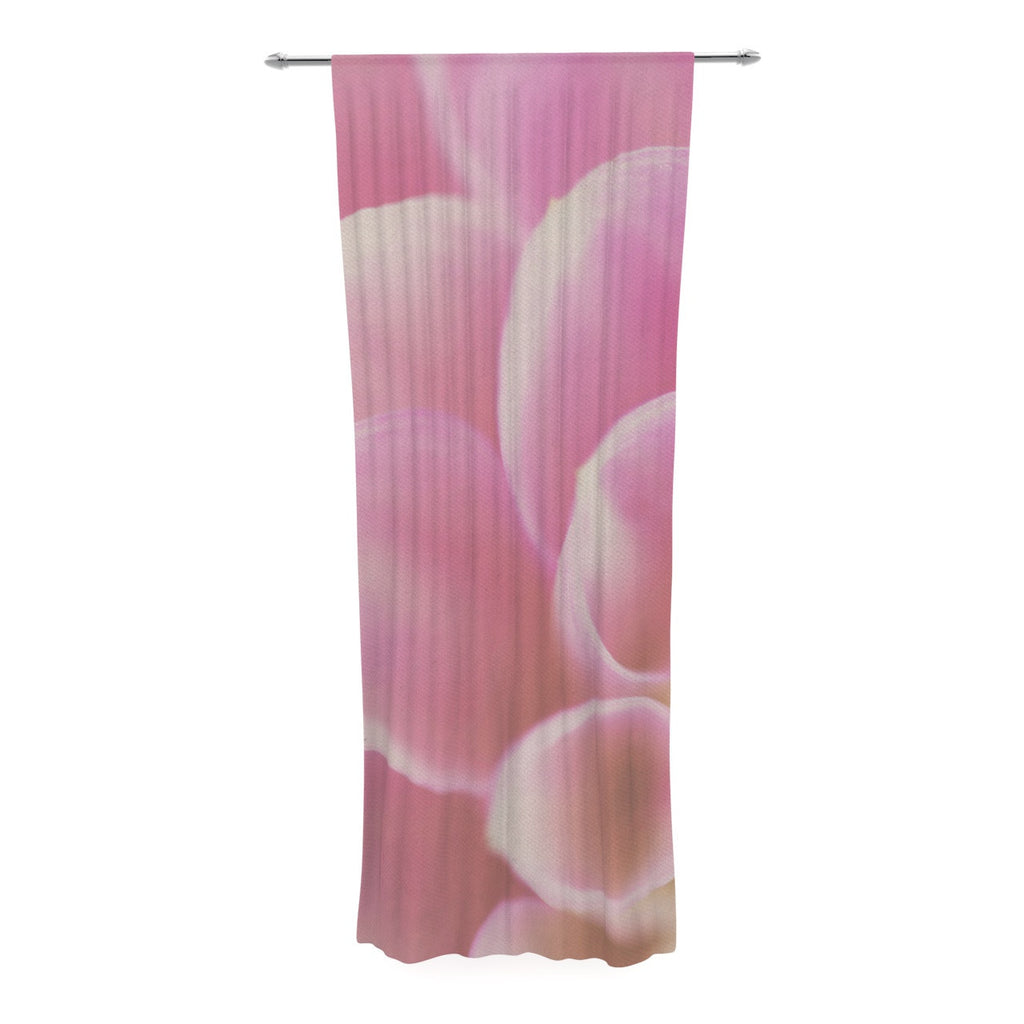 "Laura Evans ""Up Close & Personal"" Pink Floral Decorative Sheer Curtain - KESS InHouse  - 1"