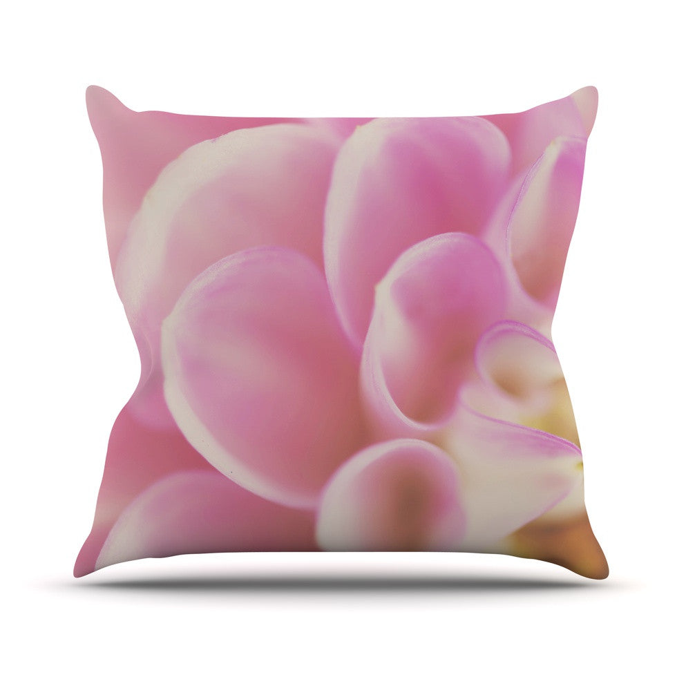 "Laura Evans ""Up Close & Personal"" Pink Floral Throw Pillow - KESS InHouse  - 1"