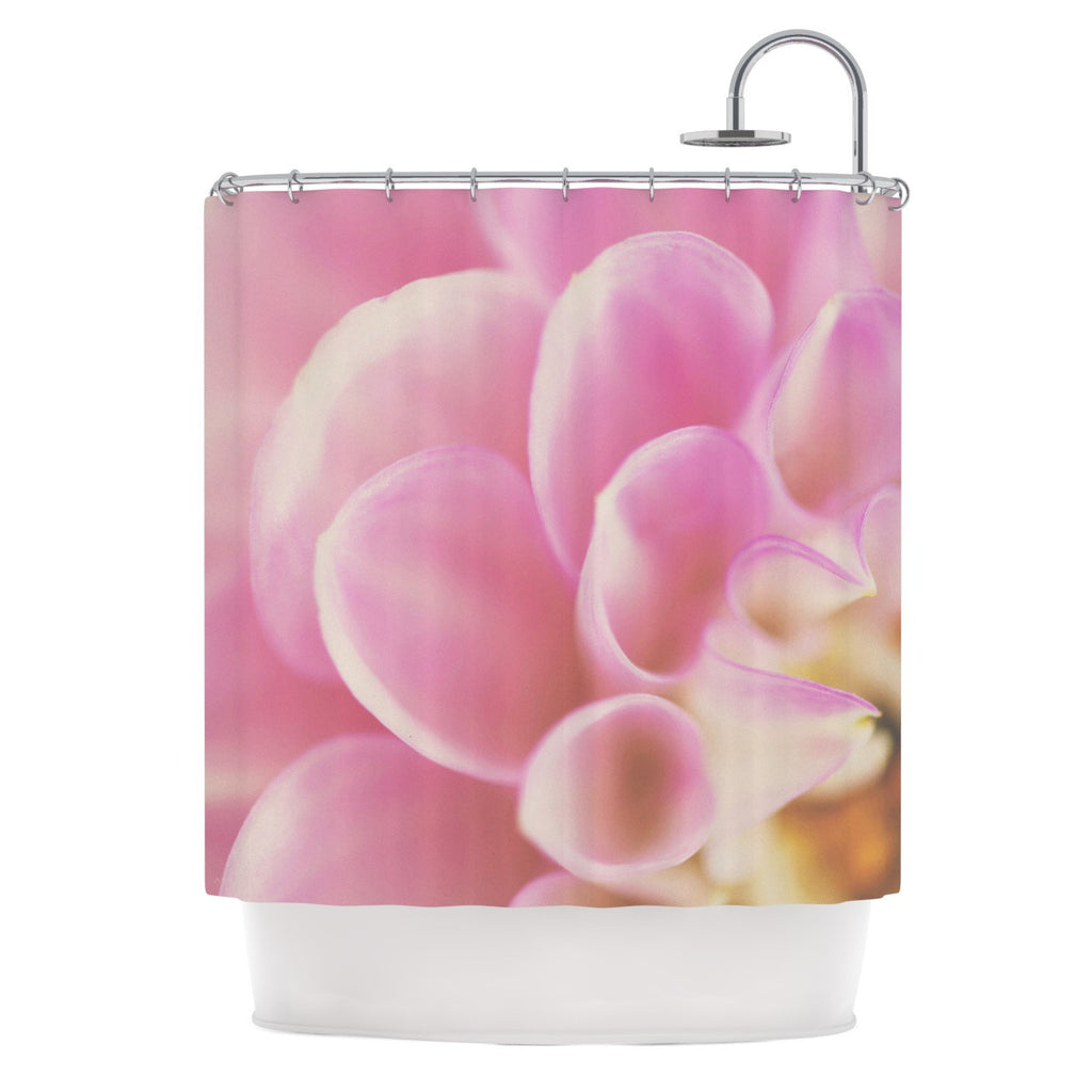 "Laura Evans ""Up Close & Personal"" Pink Floral Shower Curtain - KESS InHouse"