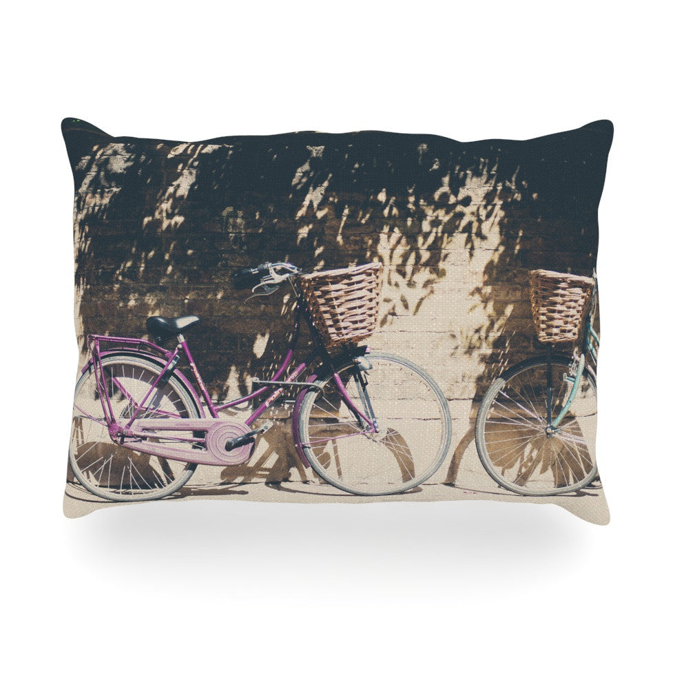 "Laura Evans ""Pretty Bicycles"" Brown Green Oblong Pillow - KESS InHouse"