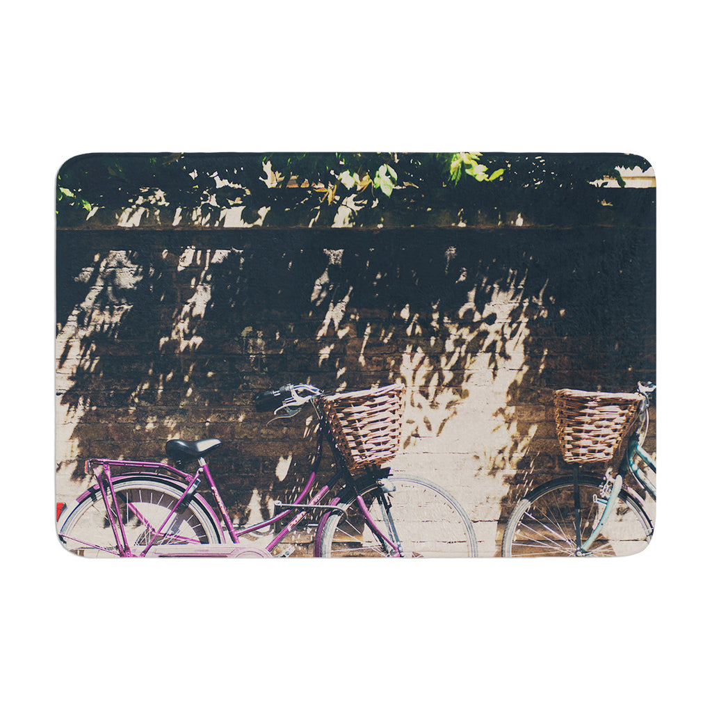 "Laura Evans ""Pretty Bicycles"" Brown Green Memory Foam Bath Mat - KESS InHouse"