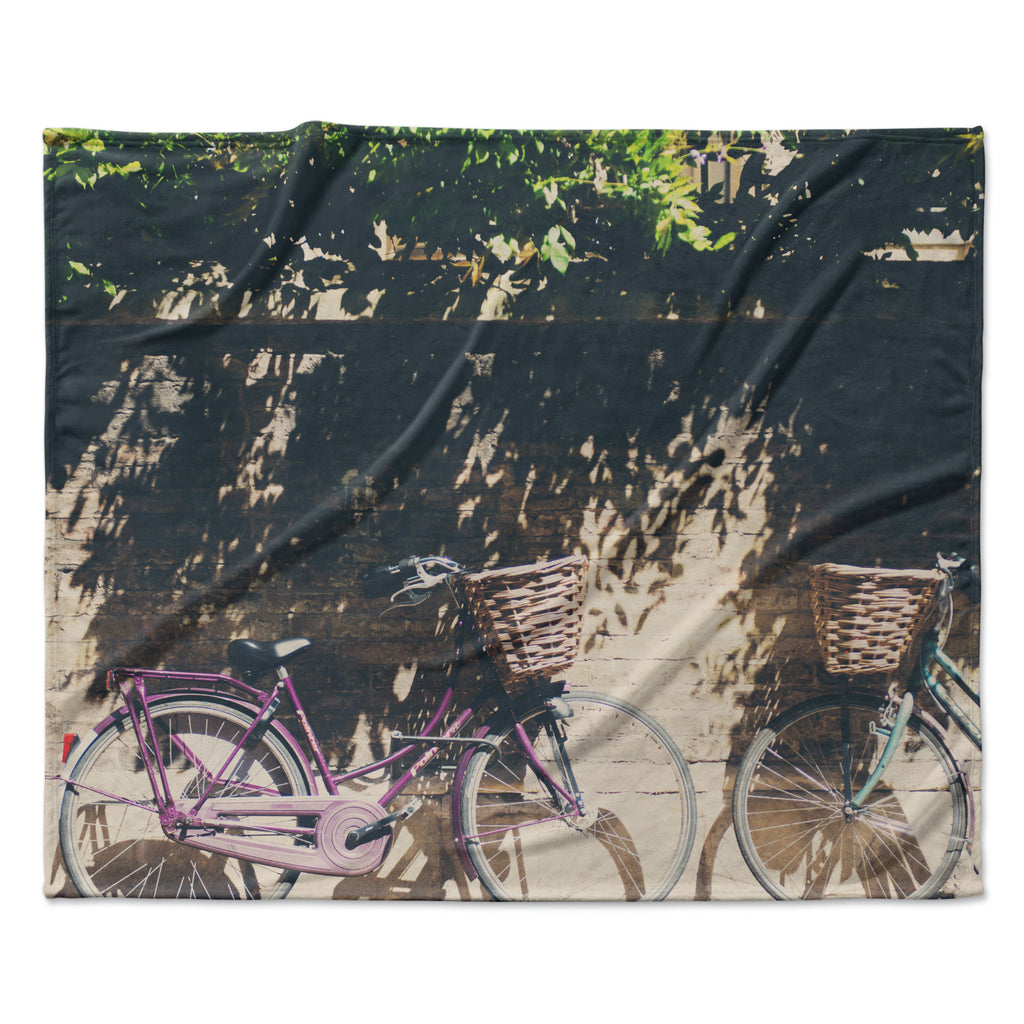 "Laura Evans ""Pretty Bicycles"" Brown Green Fleece Throw Blanket"