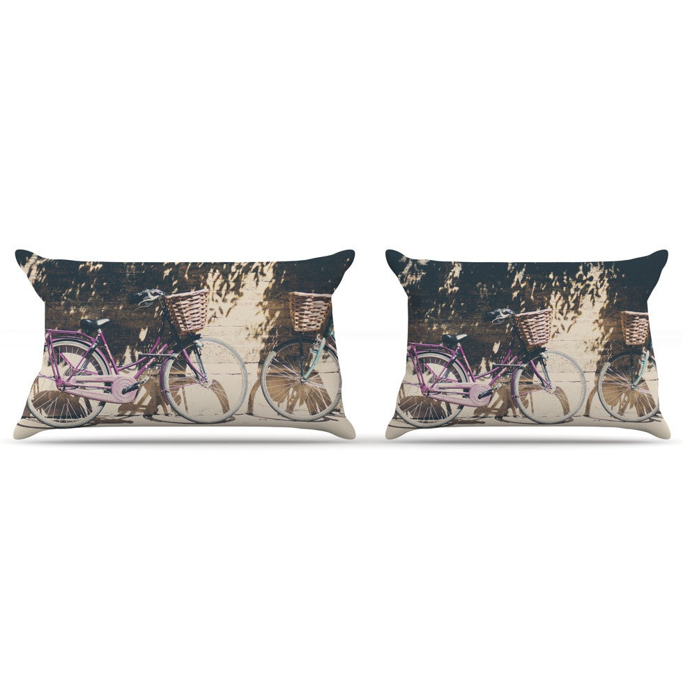 "Laura Evans ""Pretty Bicycles"" Brown Green Pillow Sham - KESS InHouse"
