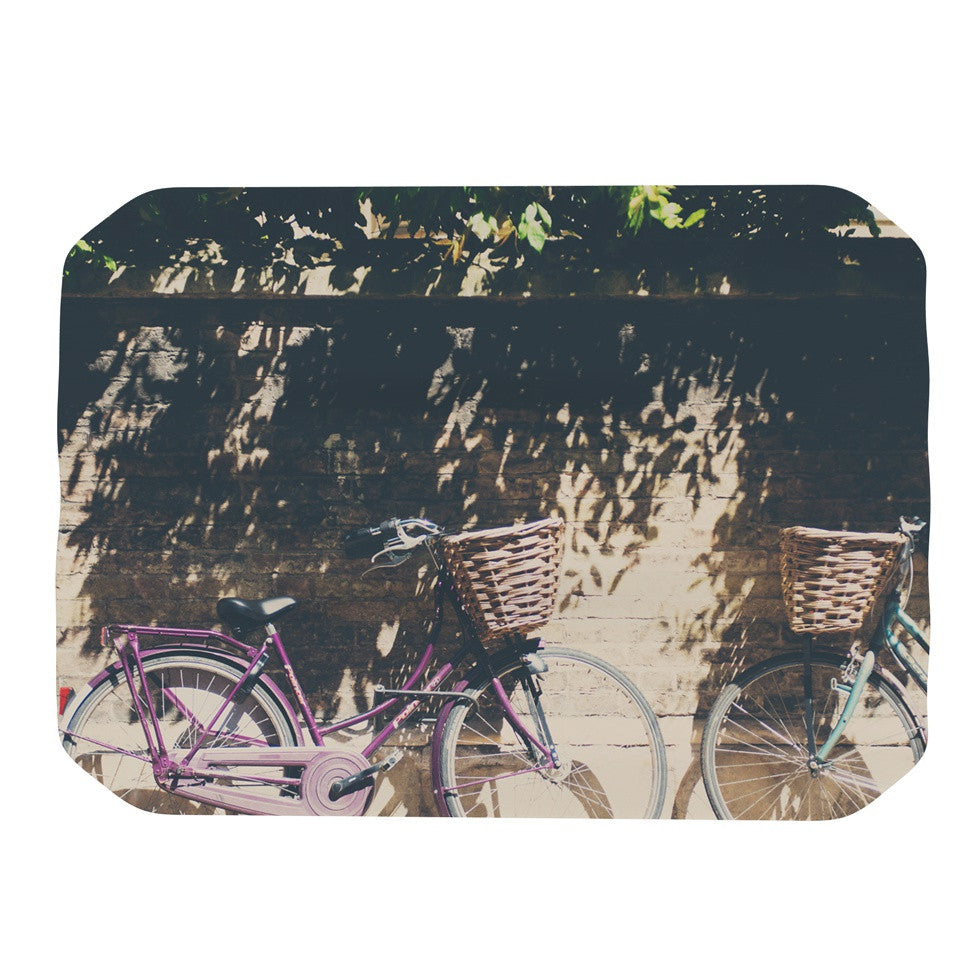 "Laura Evans ""Pretty Bicycles"" Brown Green Place Mat - KESS InHouse"