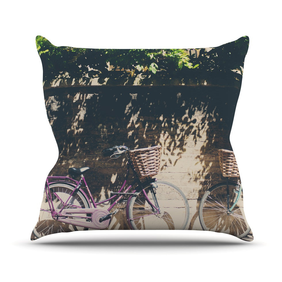 "Laura Evans ""Pretty Bicycles"" Brown Green Outdoor Throw Pillow - KESS InHouse  - 1"