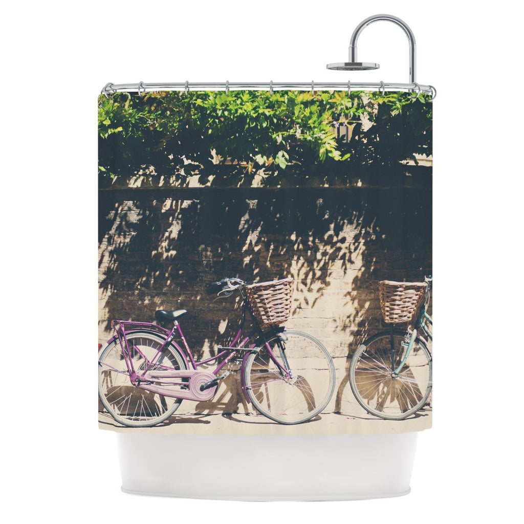 "Laura Evans ""Pretty Bicycles"" Brown Green Shower Curtain - KESS InHouse"